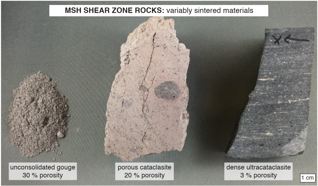 Figure 2: Shear zone rocks from Mount St. Helens. These gouge-derived materials have identical compositions and but are variably densified as they underwent less (left) or more (right) sintering during their time in the conduit.