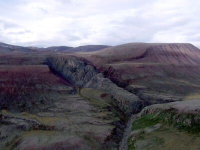 Image of the Franklin dike on northwestern Baffin Island