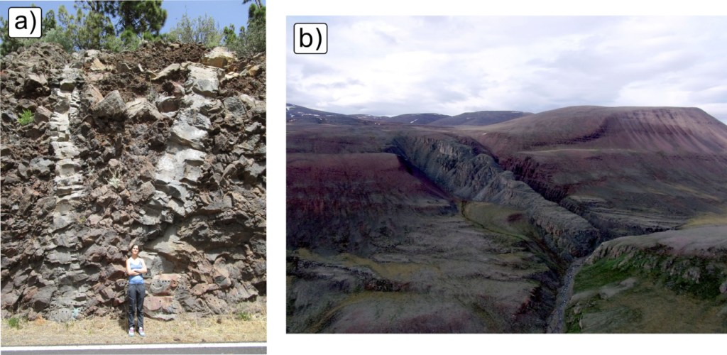 This image is made up of two photographs. The photograph on the left shows grey dikes on a road outcrop in Tenerife. There is a person standing next to the outcrop for scale. The photograph on the right displays the Franklin dolerite dike swarm cutting through the rocky landscape. There is no scale for this photograph.